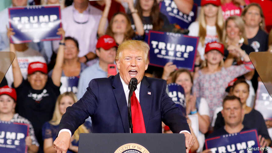 FILE - U.S. President Donald Trump speaks at a campaign rally in Greenville, North Carolina, July 17, 2019.