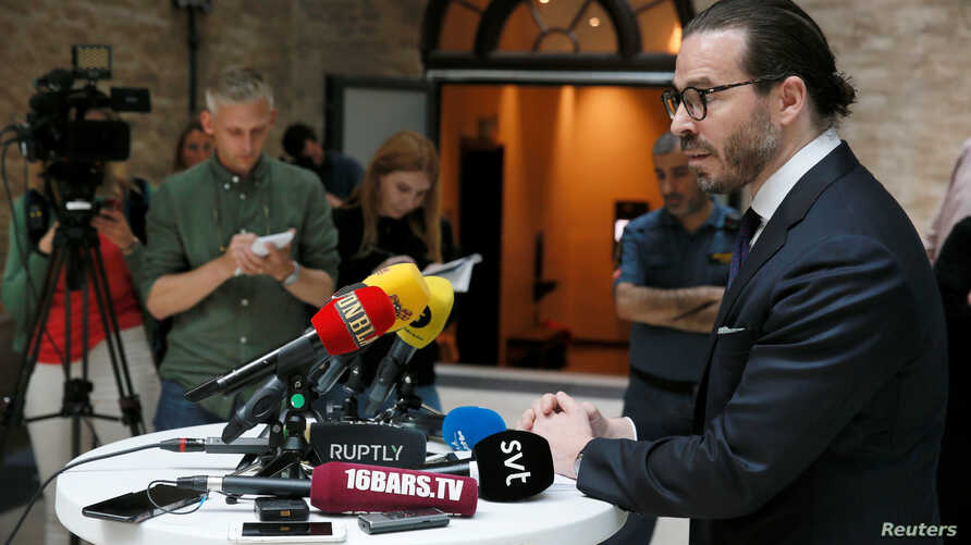 Slobodan Jovicic, ASAP Rocky's lawyer, talks to media after the arrest proceedings against the artist at the Kronoberg custody i