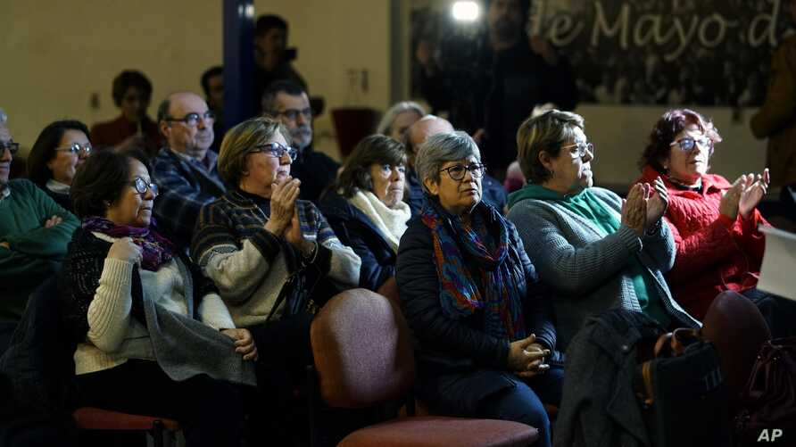 "A group of ""Mothers and relatives of disappeared detainees,"" ""Observatorio Luz Ibarburu"" and of other Uruguayan human rights organizations participate in a video conference regarding the ""Operation Condor"" trail, in Montevideo, Uruguay, July 8, 2019."