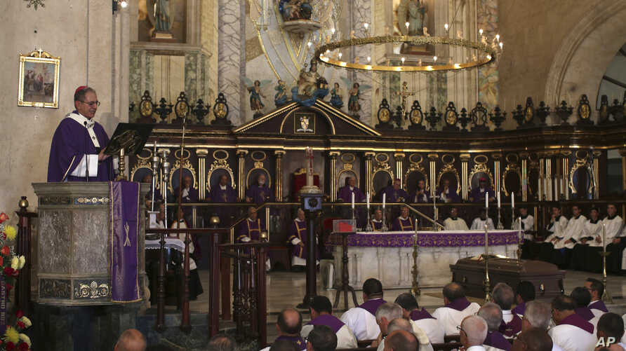 A final Mass is held for the late Roman Catholic Cardinal Jaime Ortega, whose casket lies in front of the altar of the Cathedral in Havana, Cuba, July 28, 2019.