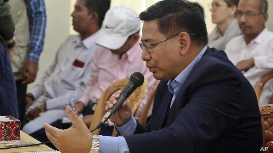 Myanmar's permanent foreign secretary, U Myint Thu, speaks during a meeting with representatives of Rohingya Muslim refugees in Cox's Bazar, Bangladesh, July 28, 2019.