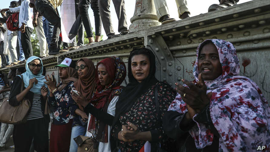 Sudanese women protesters are seen at a rally in the capital Khartoum, April 23, 2019.