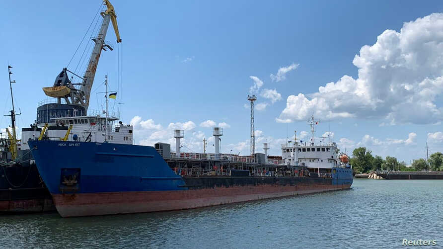 A photo shows the Russian tanker Nika Spirit, formerly named Neyma, which was detained by Ukrainian security services, in the port of Izmail, Ukraine, in this handout picture obtained by Reuters July 25, 2019.