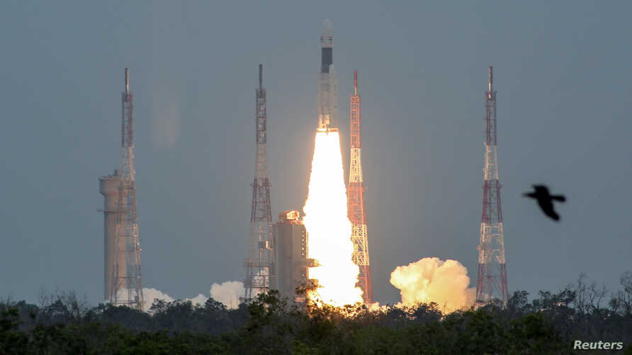 India's Geosynchronous Satellite Launch Vehicle Mk III-M1 blasts off carrying Chandrayaan-2, from the Satish Dhawan Space Centre at Sriharikota, India, July 22, 2019.