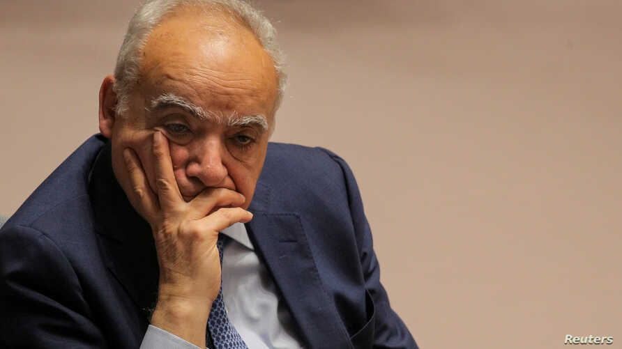 FILE - U.N. Libya Envoy Ghassan Salame attends a United Nations Security Council meeting at U.N. headquarters in New York, May 21, 2019.