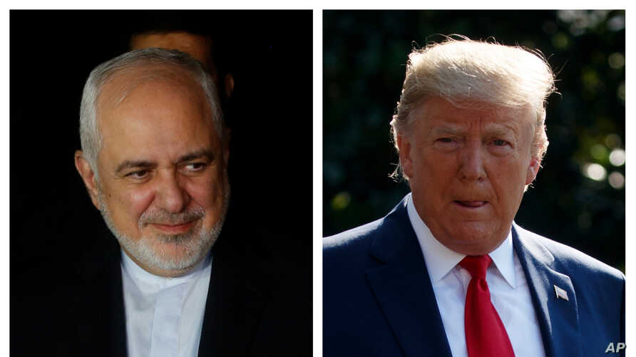 In the combination photo, Iran's Foreign Minister Mohammad Javad Zarif, left, arrives in Santa Cruz, Bolivia, July 23, 2019; President Donald Trump walks across the South Lawn of the White House, July 30, 2019.