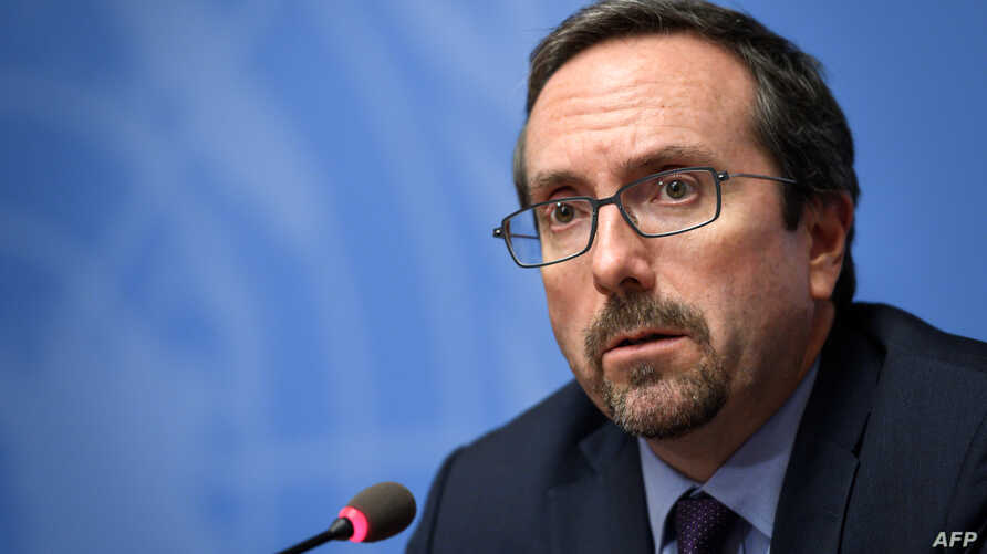 U.S. Ambassador to Afghanistan John Bass attends a press conference during the UN Conference on Afghanistan on Nov. 27, 2018, in Geneva.