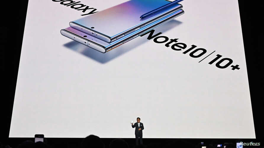 Samsung Electronics President and CEO Dong Jin Koh speaks during the launch event of the Galaxy Note 10 at the Barclays Center in Brooklyn, New York on Aug. 7, 2019.