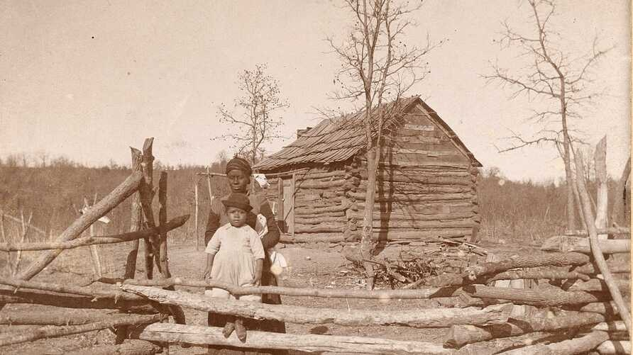 Home of Creek Freedmen, ca. 1900, from Photographs Accompanying Reports to the U.S. Secretary of the Interior.