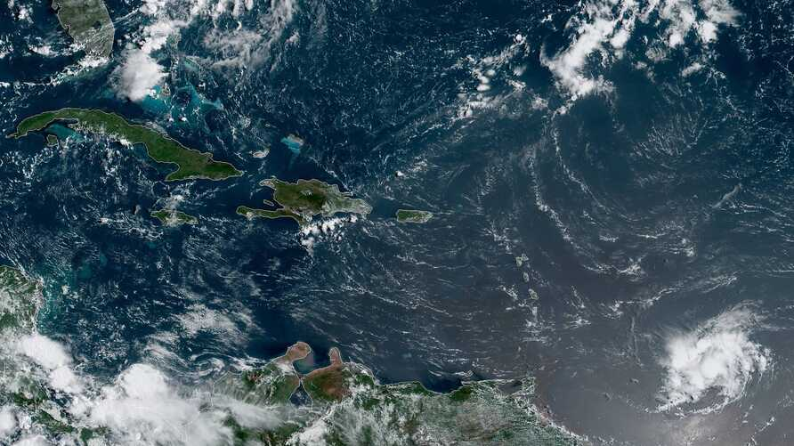 NOAA Satellite image of storm activity in the Caribbean, Aug. 25, 2019