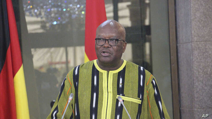 FILE - Burkina Faso President Roch Marc Christian Kabore speaks during a news conference at the Presidential Palace in Ouagadougou, Burkina Faso, May 1, 2019.