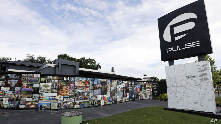 An outside view of the Pulse nightclub is seen before a news conference to introduce legislation that would designate the Pulse nightclub site as a national memorial, June 10, 2019, in Orlando, Florida.