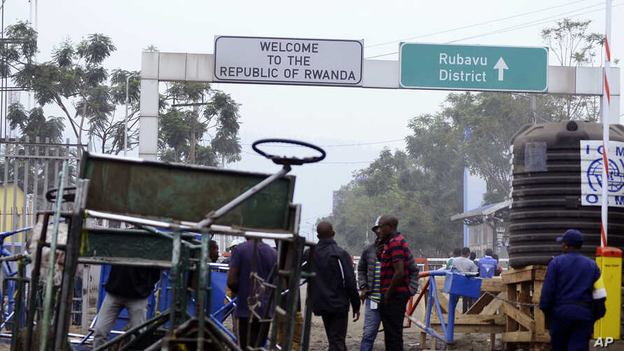 A view of the Poids Lourd checkpoint on the border between Congo and Rwanda, Aug. 1, 2019.