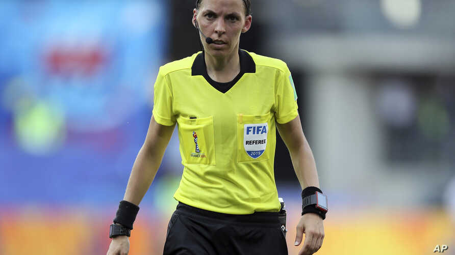 FILE - Referee Stéphanie Frappart of France during the of the Women's World Cup quarterfinal soccer match between Germany and Sweden at Roazhon Park in Rennes, France, June 29, 2019.