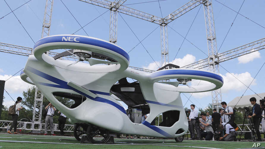 NEC Corp.'s machine with propellers is seen during a test flight at the company's facility in Abiko near Tokyo, Aug. 5, 2019.