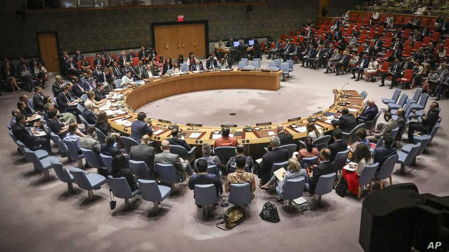 The U.N. Security Council holds a meeting on the Mideast attended by U.S. Secretary of State Mike Pompeo, Aug. 20, 2019 at U.N. headquarters.