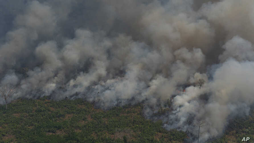 Wildfires consume an area near Porto Velho, Brazil, Aug. 23, 2019. Brazilian state experts have reported a record of nearly 77,000 wildfires so far this year, up 85% over the same period in 2018.