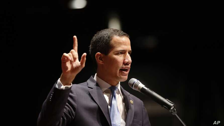 Venezuela's opposition leader and self-proclaimed interim president Juan Guaido, speaks during an event about infrastructure of the country at the Metropolitan University in Caracas,  Aug. 28, 2019.