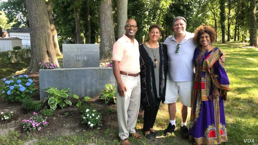 Reporter Chris Simkins meets with members of the Tucker family at the first African cemetery in colonial America, in Hampton, Virginia.