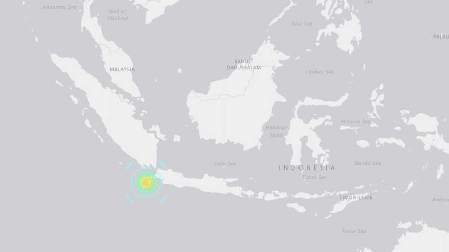 Map showing the location of the Aug. 2, 2019 Earthquake near Indonesia