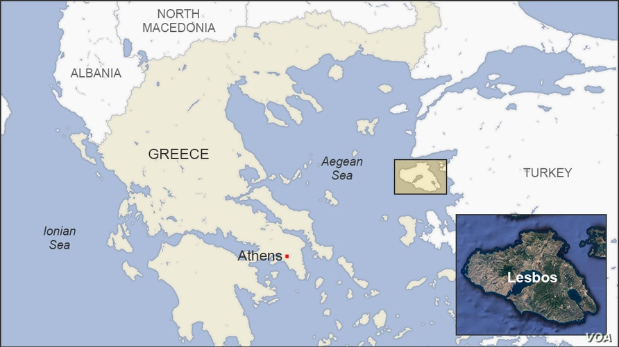 Map of Lesbos, Greece