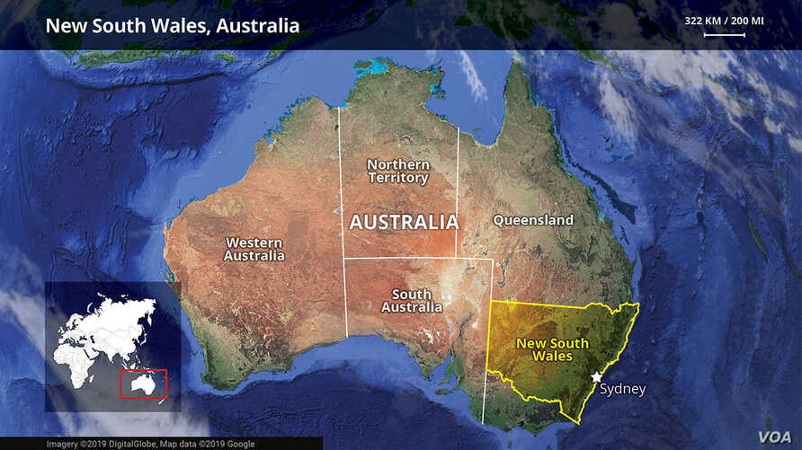 New South Wales, Australia map