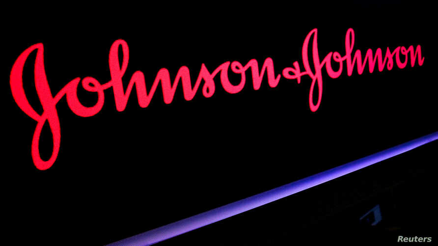 FILE - The Johnson & Johnson logo is displayed on a screen on the floor of the New York Stock Exchange (NYSE) in New York, May 29, 2019.