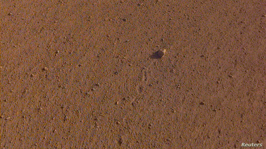 """The """"Rolling Stones Rock,"""" slightly larger than a golf ball and named after the rock band, is seen on the surface of Mars after it rolled about 3 feet, spurred by the thrusters on NASA's InSight spacecraft, Nov. 26, 2018."""