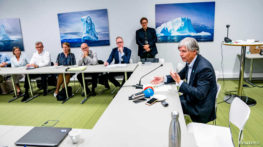 Norwegian Climate Minister Ola Elvestuen meets with representatives for business, climate organizations and research, as they discuss the situation in Amazon forest, in Oslo, Norway Aug. 27, 2019.