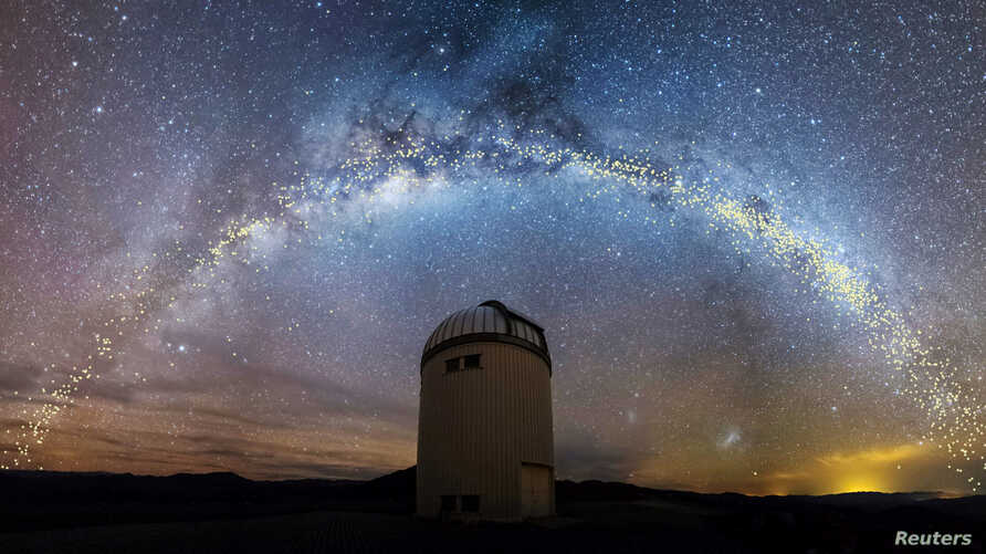 The warped shape of the stellar disk of the Milky Way is seen over the Warsaw University Telescope at Las Campanas Observatory, Chile, in an artist's rendition, Aug. 1, 2019. (Jan Skowron/University of Warsaw)