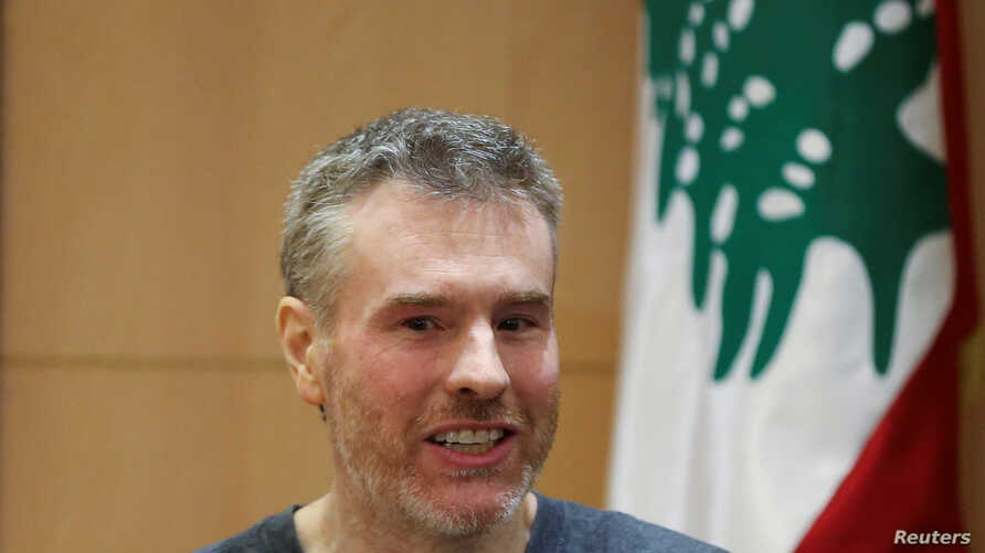 Canadian citizen, Kristian Lee Baxter, who was being held in Syria, attends a news conference in Beirut, Lebanon, Aug. 9, 2019.