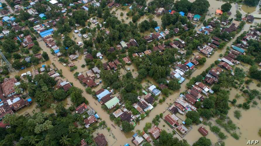 This aerial view shows the flooding in Shwegyin township, Bago Ragion, Aug. 8, 2019.
