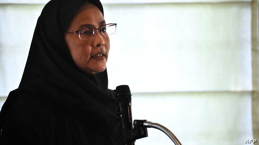 Angkhana Neelapaijit of Thailand's National Human Rights Commission speaks at a forum at the Netherlands embassy in Bangkok, March 12, 2019, about her missing husband Somchai Neelapaijit.