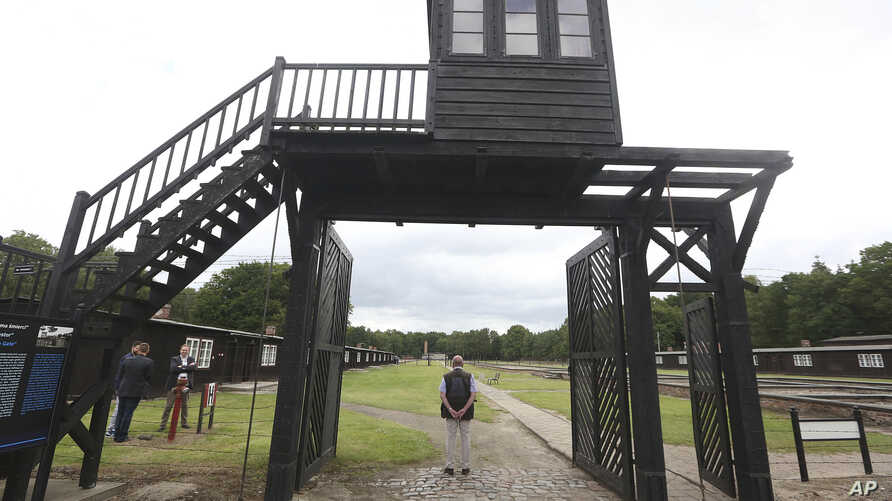 The wooden main gate leading into the former Nazi German Stutthof concentration camp is seen in Sztutowo, Poland, July 18, 2017.
