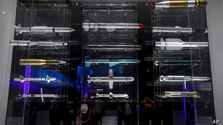A section displaying replica of various types of missiles used by the Chinese military, is seen at the Military Museum in Beijing, China, Aug. 1, 2019.