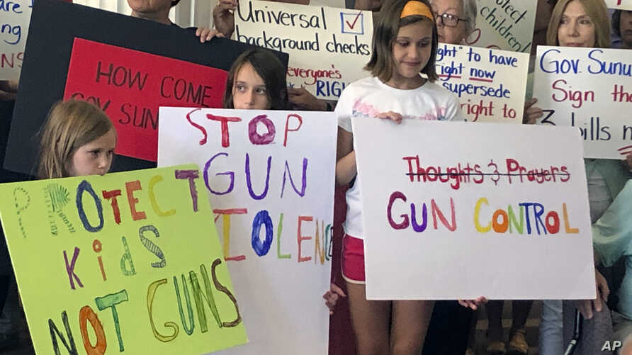Supporters of gun control measures are seen gathered at the Legislative Office Building in Concord, New Hampshire, Aug. 5, 2019, urging Republican Governor Chris Sununu to sign them in the wake of two mass shootings in Texas and Ohio over the weekend.