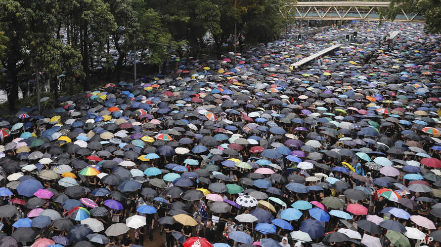 Protesters gather in Hong Kong, Aug. 18, 2019.
