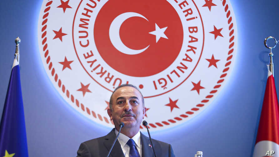 Turkish Foreign Minister Mevlut Cavusoglu talks during a conference in Ankara, Aug. 8, 2019. (Credit: Turkish Foreign Ministry)