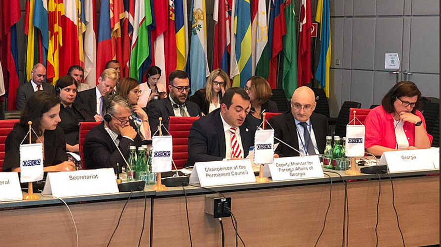 Georgian Deputy Foreign Minister Lasha Darsalia speaks on the Russian military presence in South Ossetia, Georgia, at a July OSCE meeting in Vienna, Austria. (Social media, photo credit @tchitanava)