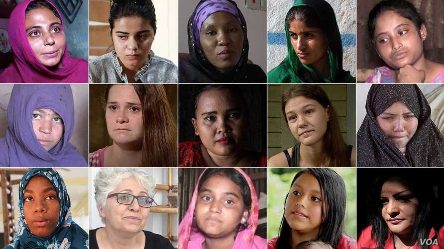 A 3-by-5 grid of portraits of 15 women who became child brides and the one who escaped.