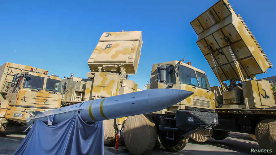 The domestically built mobile missile system Bavar-373 is displayed on the National Defense Industry Day in Tehran, Iran, Aug. 22, 2019.
