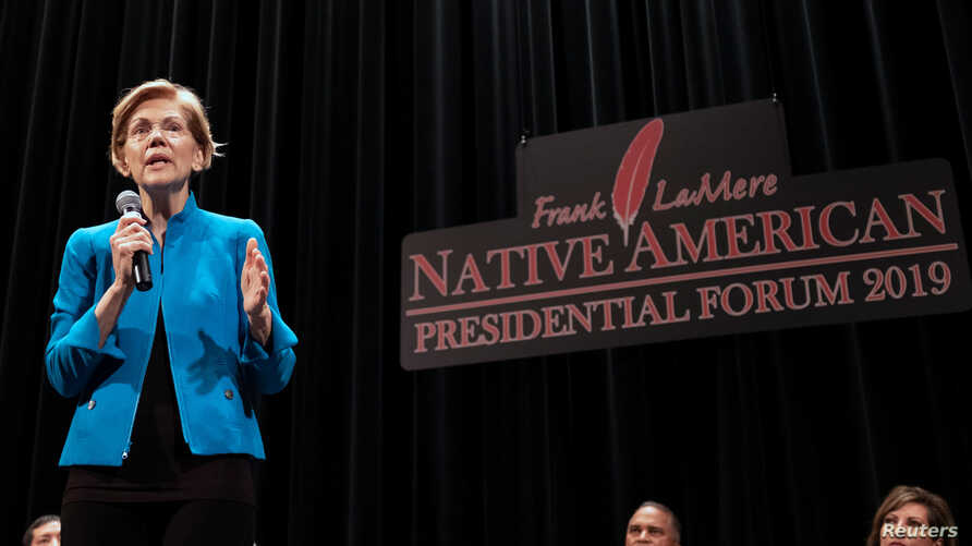 Democratic presidential candidate and U.S. Senator Elizabeth Warren speaks at the Frank LaMere Native American Forum while campaigning in Sioux City, Iowa, Aug. 19, 2019.