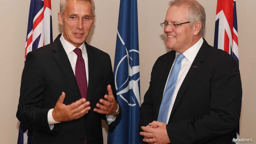 Australian Prime Minister Scott Morrison meets with Jens Stoltenberg, secretary-general of NATO, at the Commonwealth Parliamentary Offices in Sydney, Australia, August, 7, 2019.