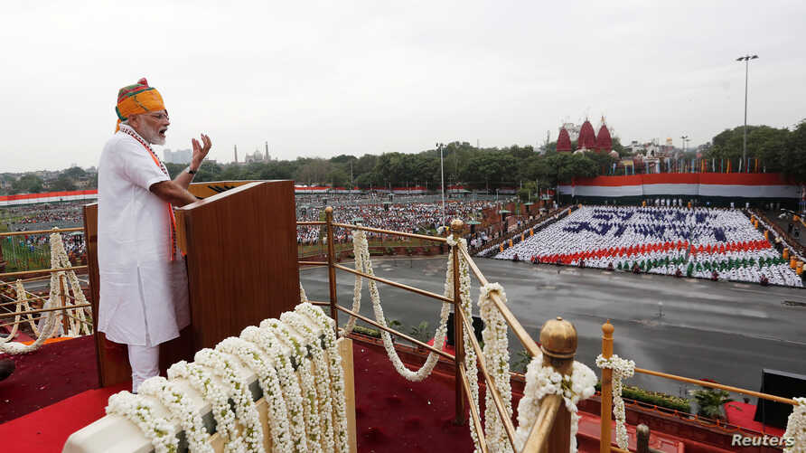 Indian Prime Minister Narendra Modi addresses the nation during Independence Day celebrations at the historic Red Fort in Delhi, Aug. 15, 2019.