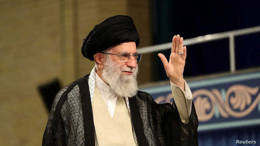 FILE - Iran's Supreme Leader Ayatollah Ali Khamenei waves during ceremony attended by Iranian clerics in Tehran, July 16, 2019.