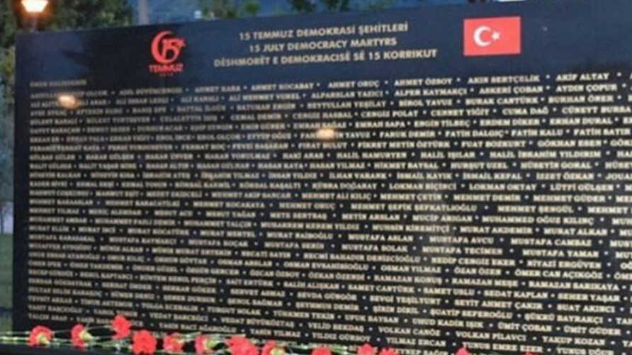 "A screenshot from the Tirana Times shows an image of the monument erected for the ""15 July Democracy Martyrs,"" published Aug. 12, 2019."