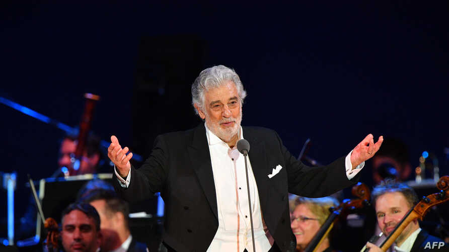 FILE - Spanish tenor Placido Domingo performs during his concert in Szeged, southern Hungary, Aug. 28, 2019.