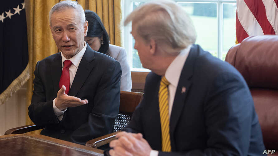 China Vice Premier Lui He and President Donald Trump