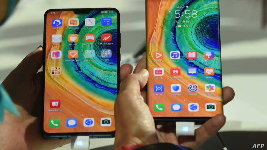 The Mate 30 Pro, the latest smartphone by the Chinese tech giant Huawei, is displayed after a presentation to reveal the Mate 30 and Mate 30 Pro in Munich, Germany, Sept. 19, 2019.