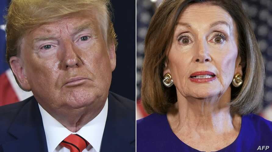 This combination of pictures shows U.S. President Donald Trump at U.N. headquarters in New York and U.S. Speaker of the House Nancy Pelosi, Democrat of California, in Washington, both taken Sept. 24, 2019.
